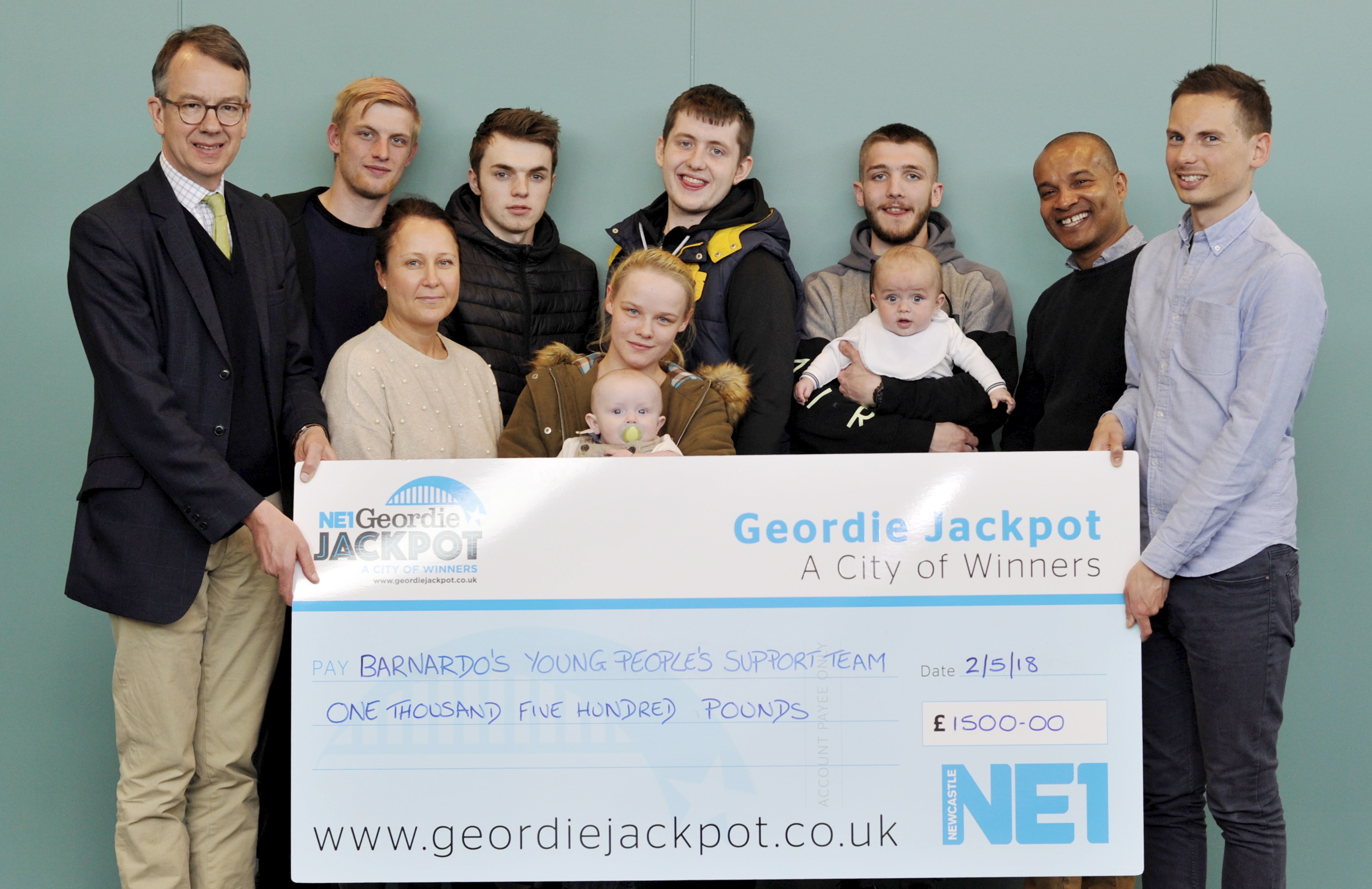 Barnardo's is the first North East charity to benefit from the Geordie Jackpot